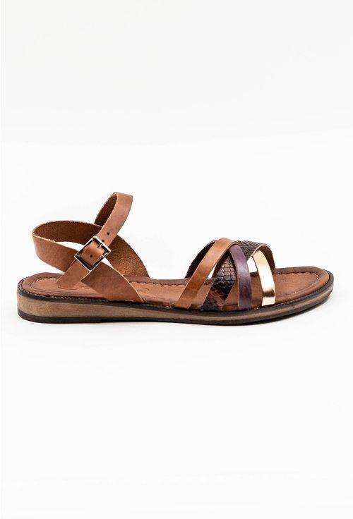 Sandale maro din piele naturala cu barete incrucisate