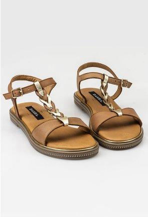 Sandale maro din piele naturala cu detaliu impletitura