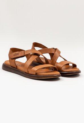 Sandale maro din piele naturala cu talpic buretat