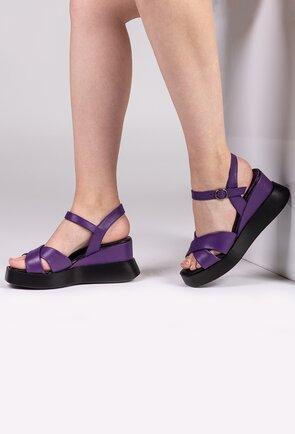 Sandale mov din piele naturala