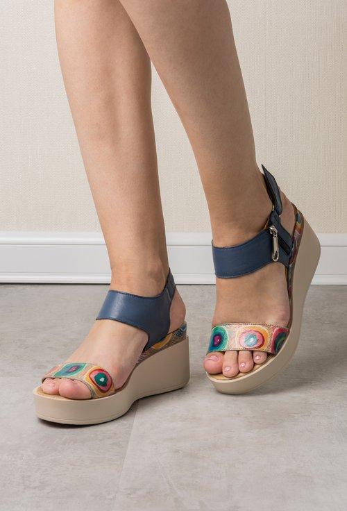 Imprimeu Sandale Cu Navy Naturala Piele Colorat Daria Din Geometric A4jL5R