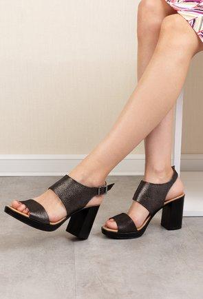 Sandale negre cu inseratii sclipitoare din piele naturala Lopez