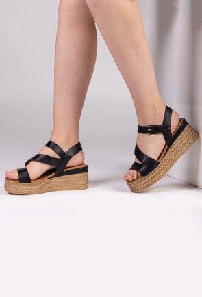 Sandale negre din piele cu talpa ortopedica