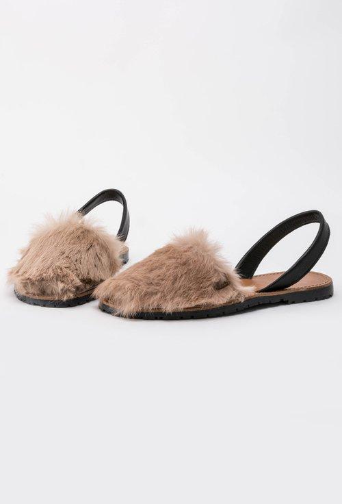 Sandale negre din piele naturala cu blanita artificiala bej Luana