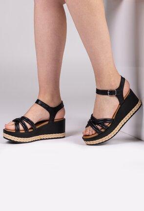 Sandale negre din piele naturala cu platforma si detalii impletite