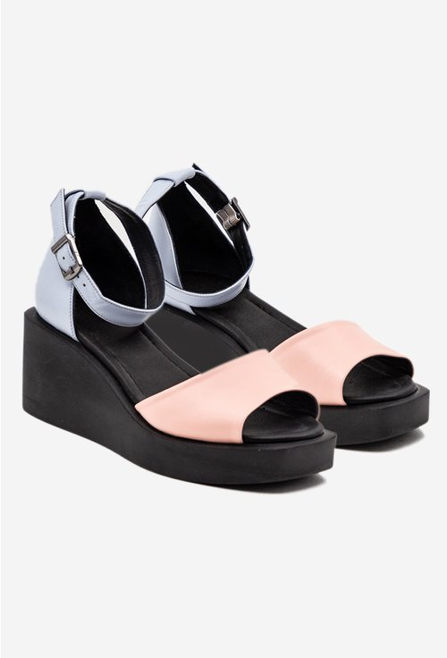Sandale negre din piele naturala cu roz si bleu
