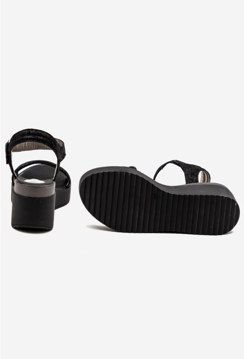 Sandale negre din piele naturala cu talpa ortopedica si platforma