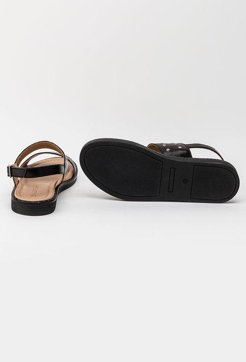 Sandale negre din piele naturala cu tinte Anais