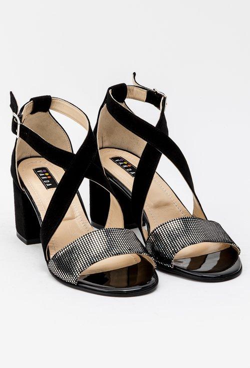 Sandale negre din piele naturala intoarsa cu aplicatii argintii Casia