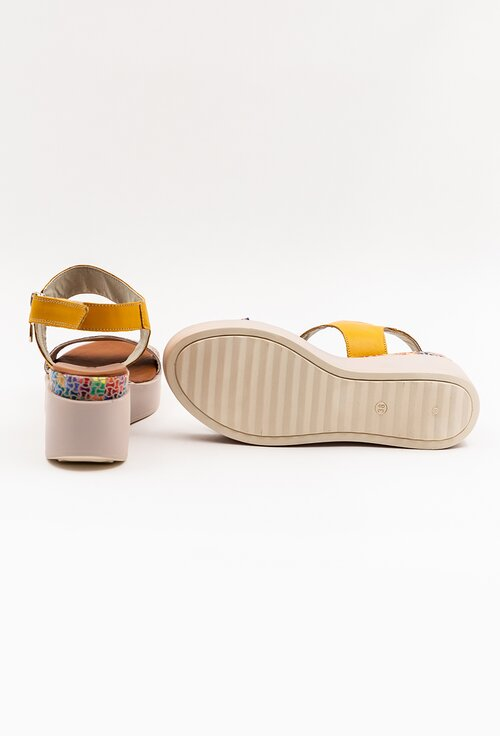 Sandale nuanta galben mustar din piele cu talpa ortopedica