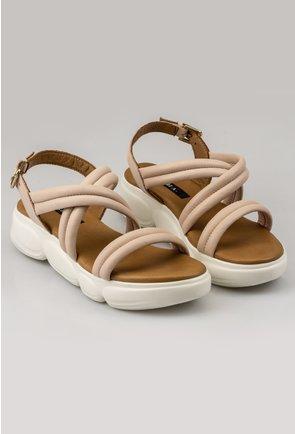Sandale nuanta nude din piele naturala cu barete duble