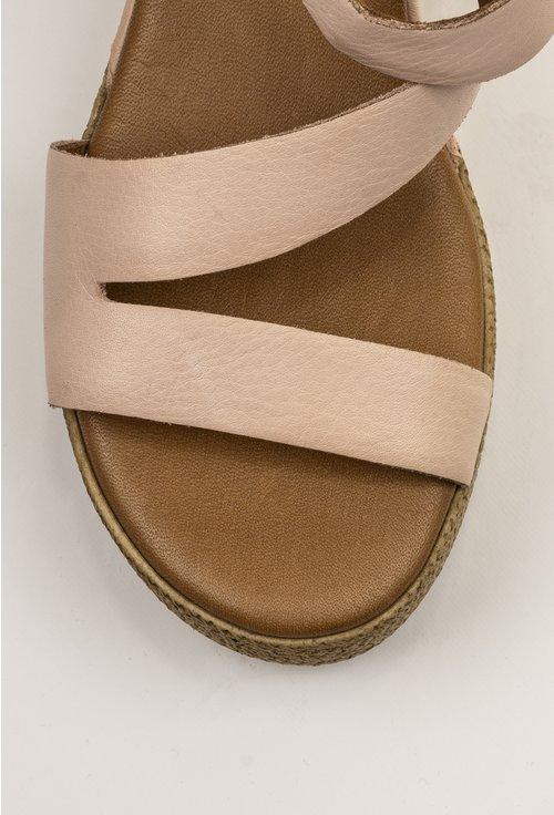 Sandale nuanta nude din piele naturala cu platforma
