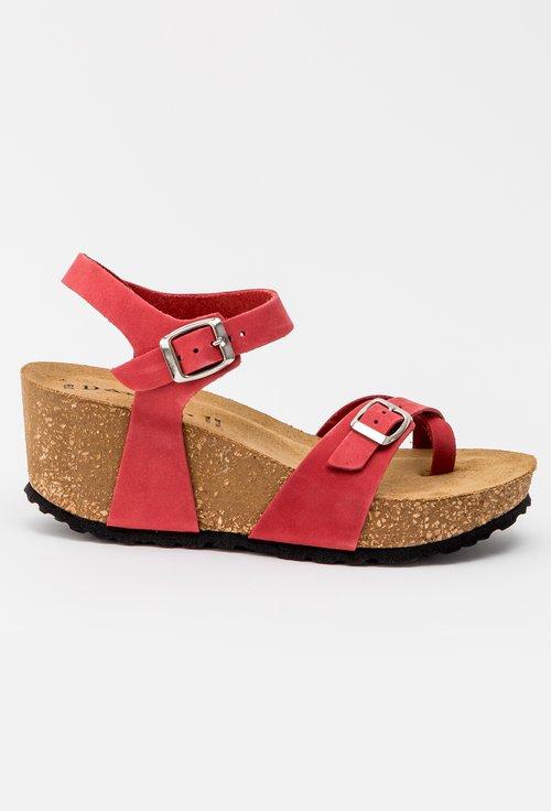 Sandale nuanta rosu trandafiriu din piele naturala Rova