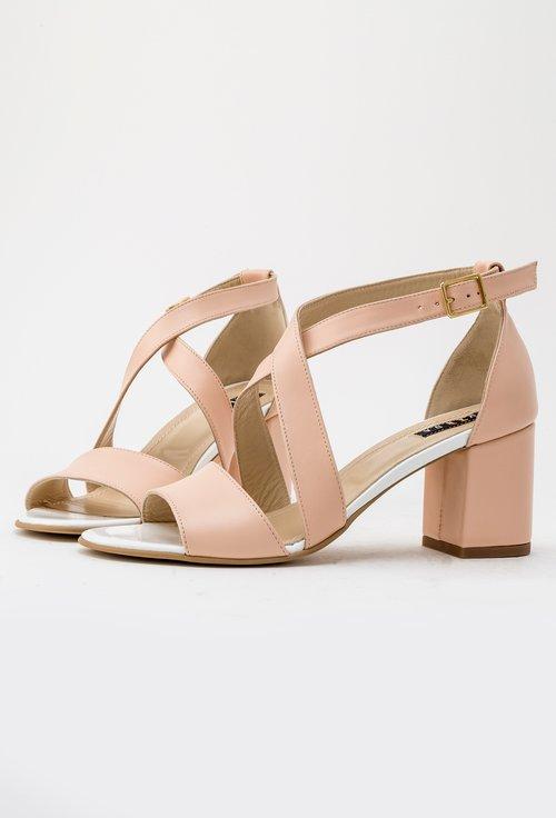 Sandale nude din piele naturala Casia