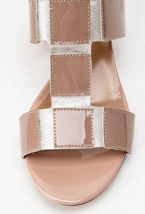 Sandale nude din piele naturala Silvia