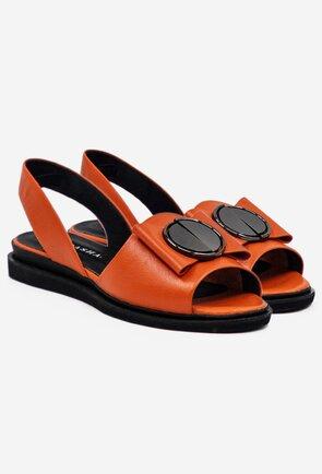 Sandale portocalii din piele cu detaliu brosa
