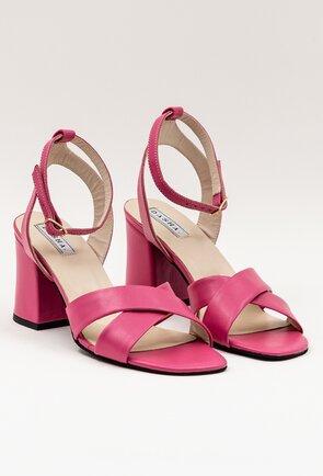 Sandale roz-fuchsia din piele naturala