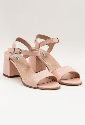 Sandale roz pal din piele cu toc