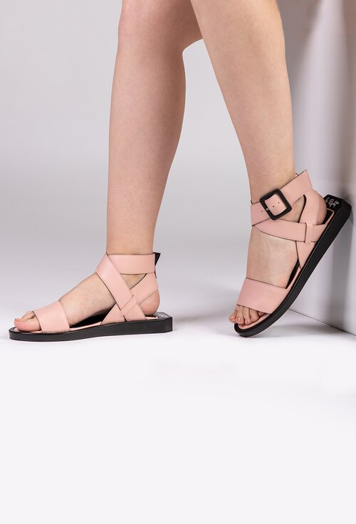 Sandale roz pal din piele naturala
