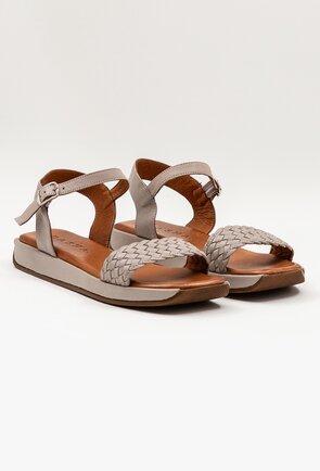 Sandale taupe din piele naturala cu aspect impletit