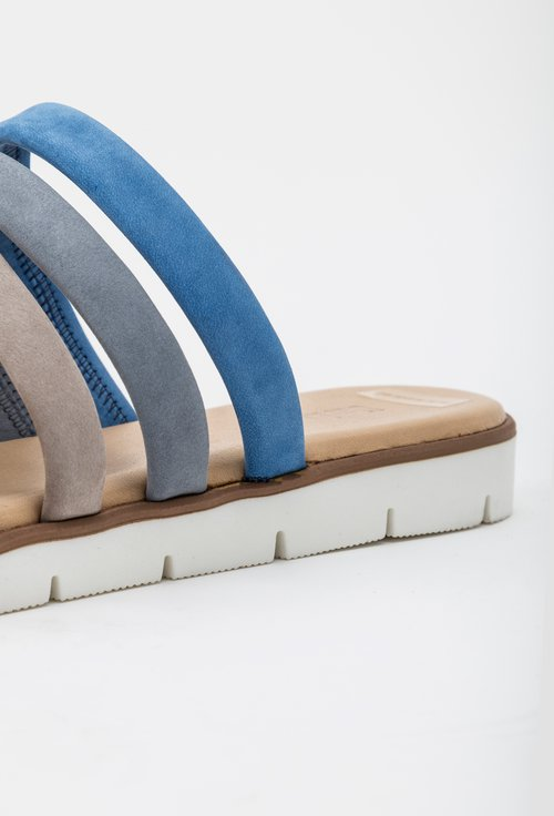 Sandale tip papuc Darkwood gri si bleu din piele naturala intoarsa Insula