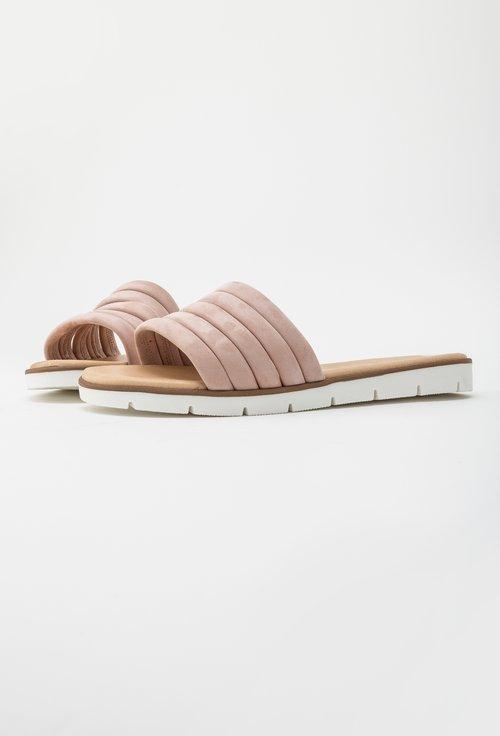 Sandale tip papuc Darkwood roz pudra din piele naturala intoarsa Isaura