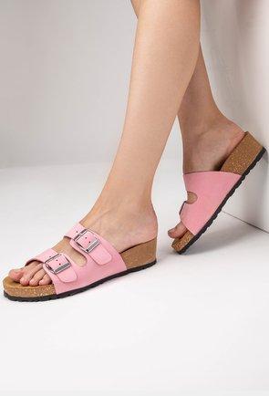 Sandale tip papuc din piele naturală nuanta roz Noah