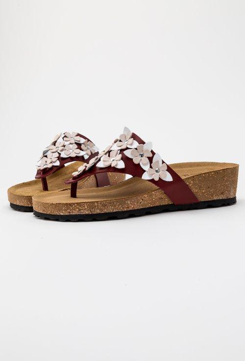 Sandale tip papuc din piele naturala cu flori Daiana