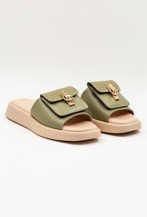 Sandale tip papuci din piele kaki cu detaliu tip buzunar