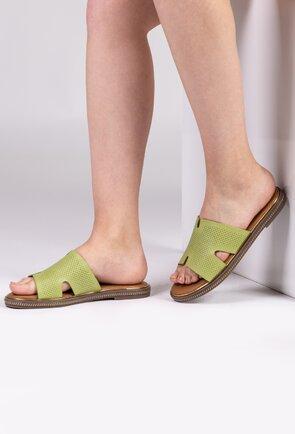 Sandale tip papuci din piele naturala nuanta verde