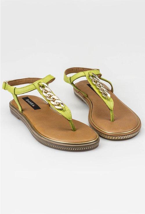 Sandale verzi din piele naturala cu detaliu lant