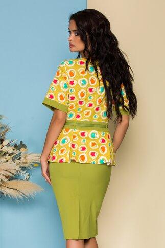 Compleu verde lime cu imprimeu circular multicolor