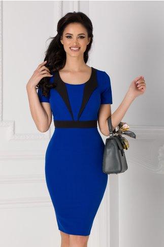 Rochie Aurora albastra cu benzi negre decorative