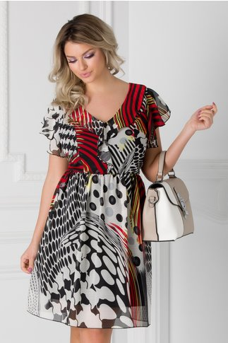 Rochie Betina vaporoasa cu imprimeuri multicolore