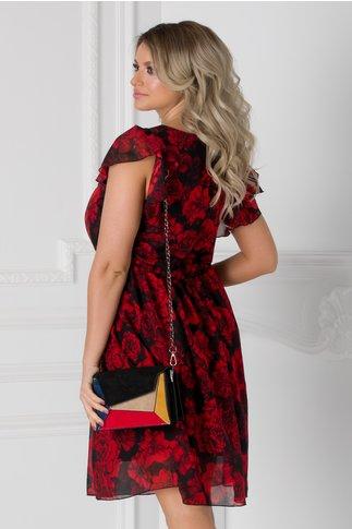 Rochie Betina vaporoasa neagra cu flori rosii