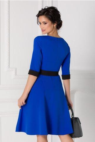 Rochie Cansi albastra cu rever si cordon negru