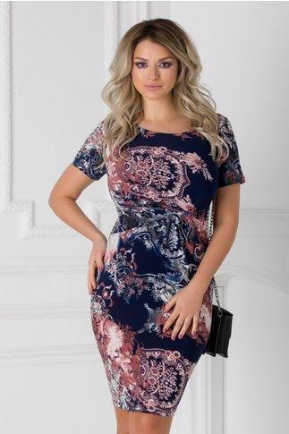 Rochie Iasmina bleumarin cu imprimeuri maro