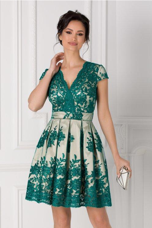 Rochie Ingrid crem cu dantela florala verde