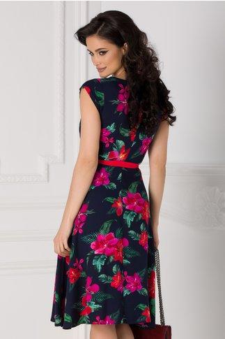 Rochie Isabel bleumarin cu imprimeu floral si cordon in talie