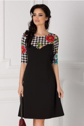 Rochie Maribel neagra cu imprimeu abstract si floral