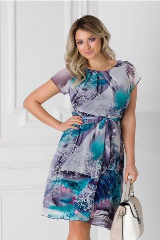Rochie Missa cu imprimeuri in tonuri de bleu-lila