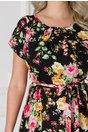 Rochie Missa de vara neagra cu imprimeu floral roz