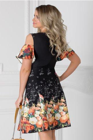 Rochie neagra cu maneci decupate si imprimeuri florale orange