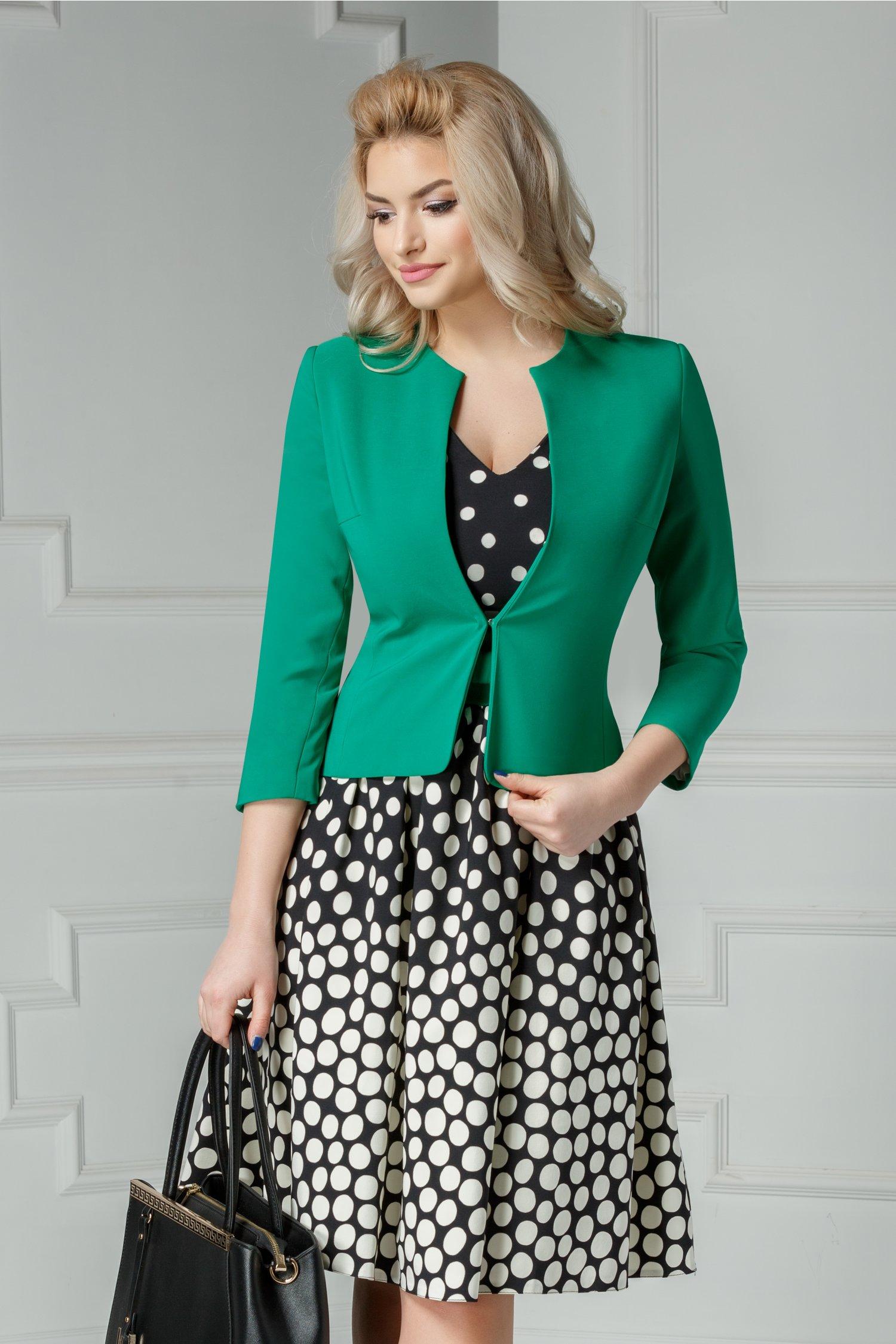 Compleu Isidor rochie cu buline sacou verde