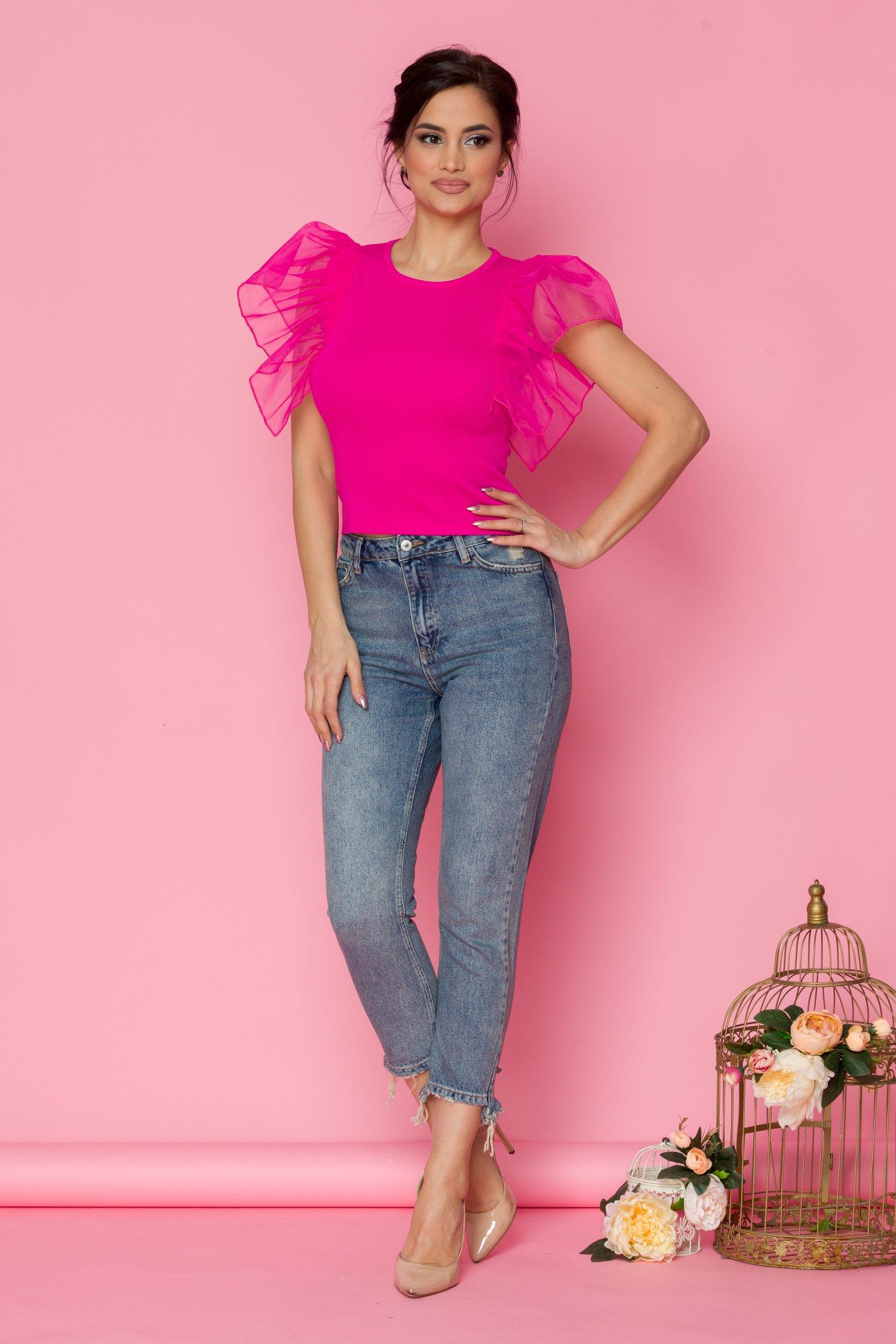 Blugi Sanny albastri mom jeans cu taieturi la baza
