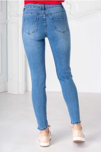 Blugi Selena albastri cu paiete pe laterale