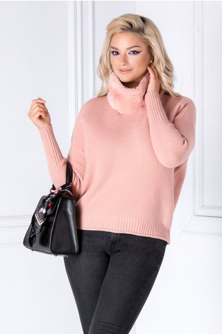 Bluza Acti roz cu guler din blanita