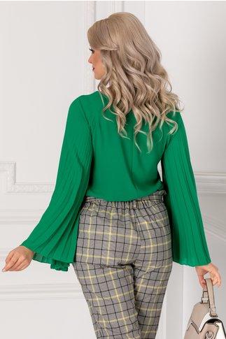 Bluza Adela verde cu maneci evazate plisate