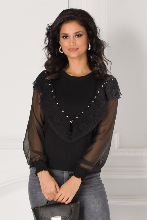 Bluza Adriela neagra cu aplicatii din dantela la bust si maneci din voal