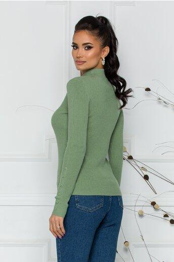 Bluza Alexa verde pal cu textura striata